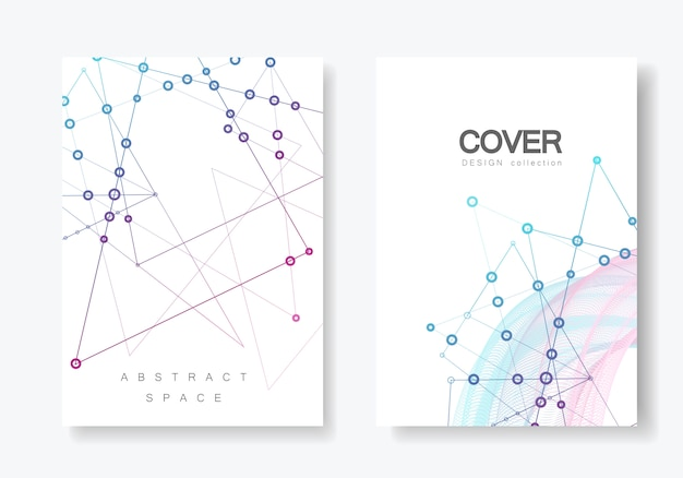 Abstract polygonal geometric shape with molecule structure style cover set