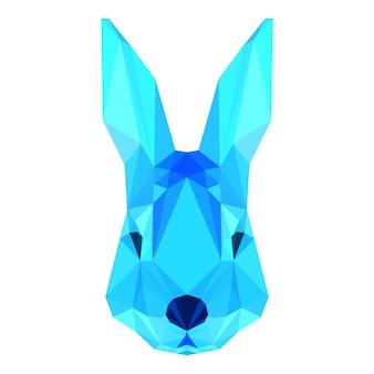 デザインで使用するための白い背景で隔離の抽象的な多角形の幾何学的な三角形の明るい青いウサギの肖像画