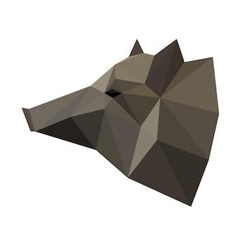 Абстрактная многоугольная геометрическая треугольная голова кабана изолирована на белом фоне для логотипа, этикетки, фирменного стиля или использования в дизайне для карты, приглашения, плаката, баннера, плаката или обложки рекламного щита