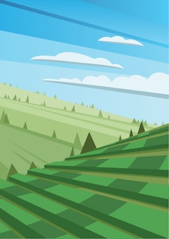 Abstract polygonal green landscape