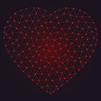 Abstract polygonal heart with glowing dots and lines.