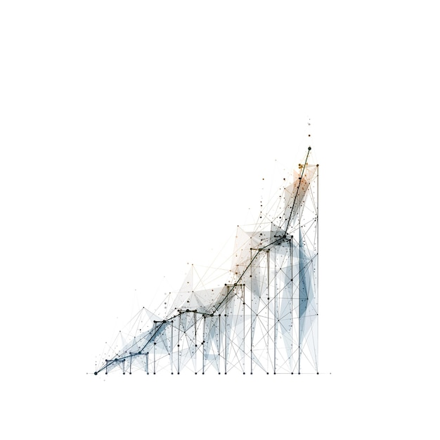 Abstract polygonal image of the growth chart on white background