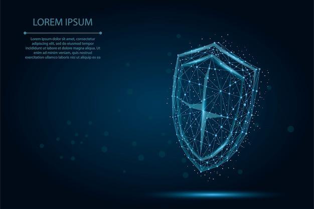 추상 다각형 낮은 폴리 방패. 디지털 와이어 프레임 보호 및 보안