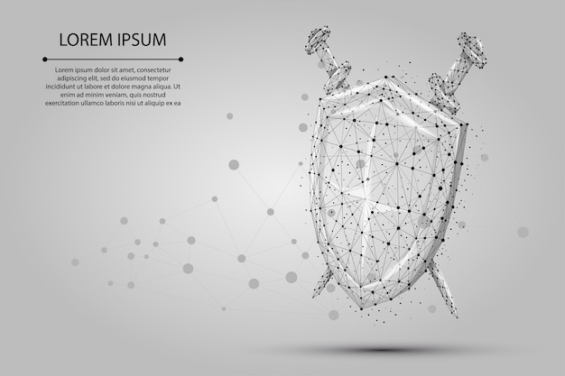 Abstract polygonal low poly shield and swords. protect and secure digital wireframe