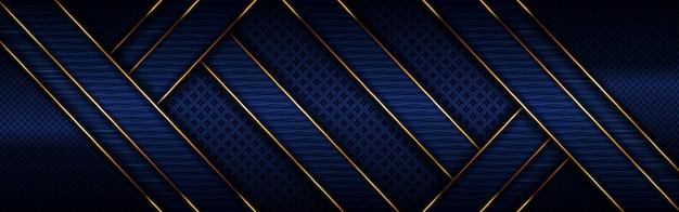 어두운 해군 파란색 배경으로 추상 다각형 럭셔리 골든 라인