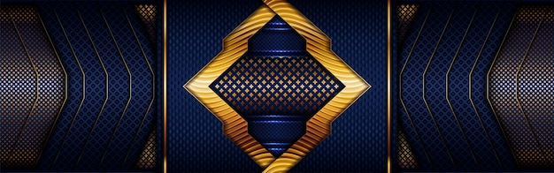 Абстрактная многоугольная роскошная золотая линия с темно-синим