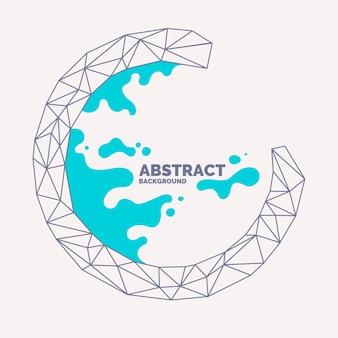 Абстрактный многоугольный объект и брызги на заднем плане. низкополигональная конструкция. векторная иллюстрация