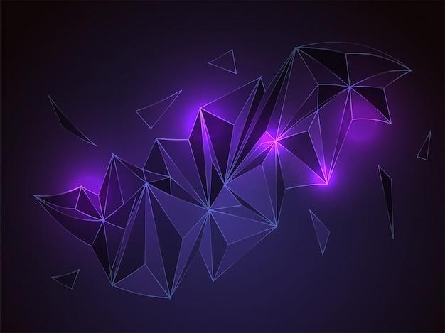 Абстрактные полигональные или низкополигональные формы с эффектом неонового света.