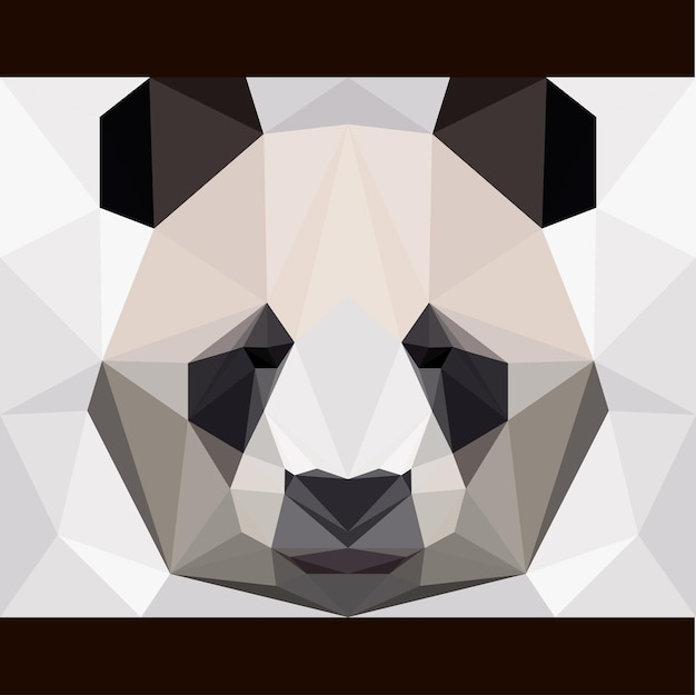 Abstract polygonal panda bear card