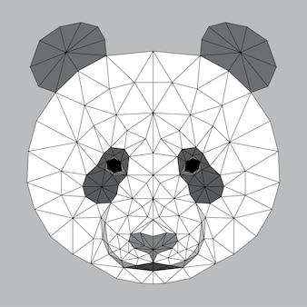 추상 다각형 팬더 곰 머리입니다. 디자인 티셔츠, 동물 병원 포스터, 선물 카드, 가방 인쇄, 아트 워크샵 광고 등을 위한 현대적인 낮은 폴리 팬더 곰 초상화 패턴 배경