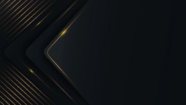 Abstract, polygonal pattern on a black and gray background with gold lines