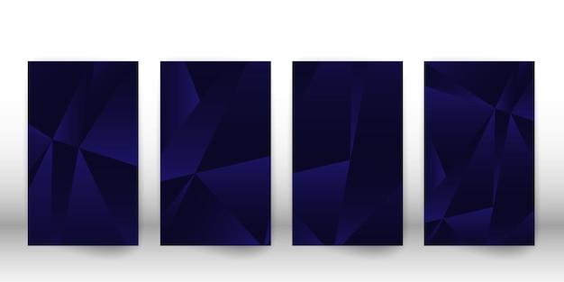 抽象的な多角形のパターン。幾何学的な形のダークカバーデザイン。ポリゴンカバーテンプレート。ベクトルイラスト。