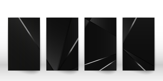 Абстрактный узор многоугольной. роскошный темный дизайн обложки с геометрическими серебряными формами. шаблон обложки многоугольника. векторная иллюстрация.