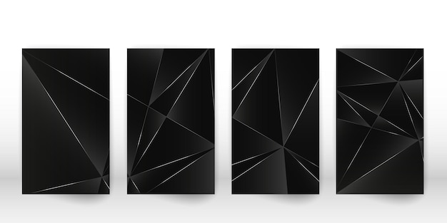 Abstract polygonal pattern. luxury dark cover design with a geometric silver shapes. polygon cover template. vector illustration.
