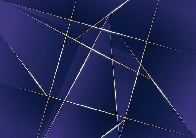 濃い青のテンプレートの背景を持つ抽象的な多角形パターンの豪華な金色の線。ポスター、カバー、プリント、アートワークのプレミアムスタイル。ベクトルイラスト