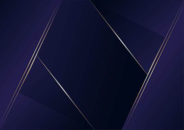 진한 파란색 템플릿 배경으로 추상 다각형 패턴 럭셔리 황금 라인. 포스터, 표지, 인쇄, 삽화를 위한 프리미엄 스타일. 벡터 일러스트 레이 션