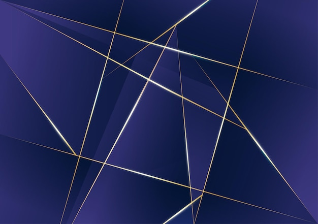 Abstract polygonal pattern luxury golden line with dark blue template background. premium style for poster, cover, print, artwork. vector illustration