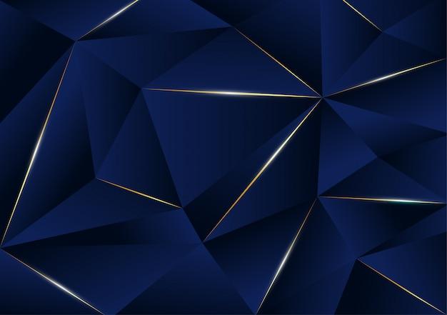 진한 파란색으로 추상 다각형 패턴 럭셔리 골든 라인 프리미엄 벡터