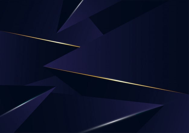 Abstract polygonal pattern luxury golden line with dark blue