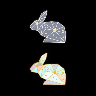 黒の背景に分離された抽象的な多角形のウサギ。側面図。カード、招待状、ポスター、プラカード、バナーのデザインに使用するための架空の色で描かれた未来的なカバー