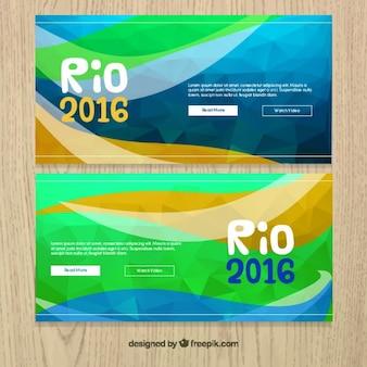 Abstract polygonal rio 2016 banners