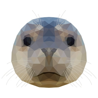 Abstract polygonal seal head. modern low poly seal portrait pattern background for design t shirt, veterinary clinic poster, gift card, bag print, art workshop advertising etc.