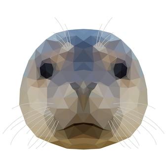 추상 다각형 물개 머리입니다. 디자인 티셔츠, 동물 병원 포스터, 선물 카드, 가방 인쇄, 아트 워크샵 광고 등을 위한 현대적인 낮은 폴리 씰 초상화 패턴 배경