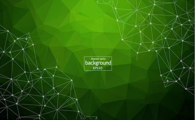 Abstract polygonal space green background