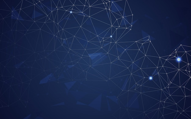 Abstract polygonal space low poly blue background with connecting dots and lines. connection structure.vector illustrator