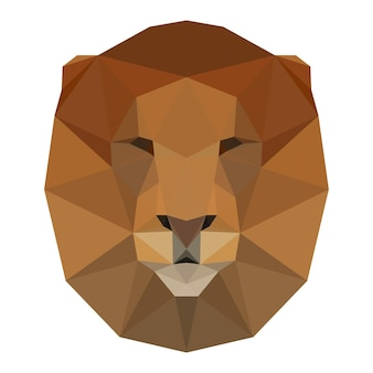 Abstract polygonal triangle lion head design for card, invitation, t-shirt, book, banner, poster, scrapbook, album etc.