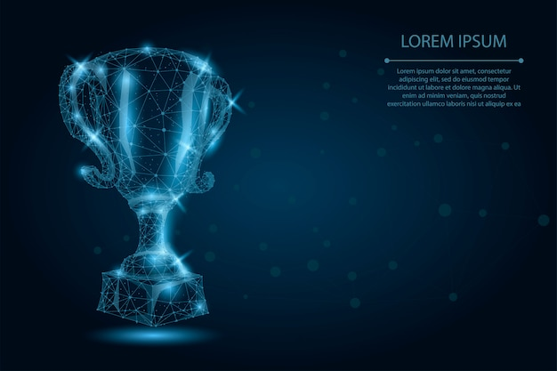 Abstract polygonal trophy cup. low poly wireframe vector illustration. champions award for sport victory