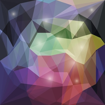 Abstract polygonal vector triangular geometric background with soft glaring lights