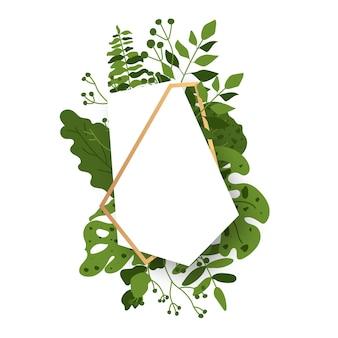 Абстрактная золотая цветочная рамка многогранника с зелеными экзотическими тропическими листьями.