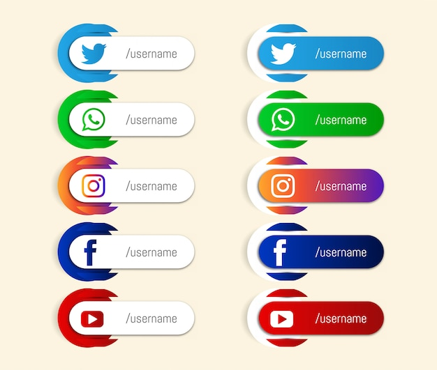 Abstract popular social media lower third icons