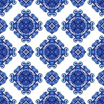 Абстрактный фарфор синий и белый л этнического происхождения бесшовные модели