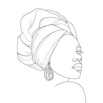 Абстрактный портрет молодой африканской женщины в современном стиле минимализма. рисование линии. - векторная иллюстрация