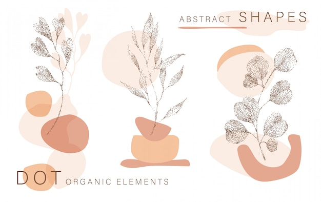 Abstract poster background minimal shapes, half tone leaves dot design elements, leaf. doodlies art print, terracota shapes.