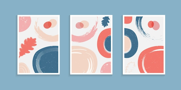 Abstract poster background set with organic shapes in pastel color