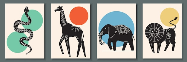 Abstract poster collection with animals and reptiles snake