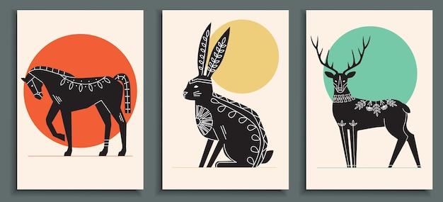 동물들과 함께 추상 포스터 컬렉션 프리미엄 벡터
