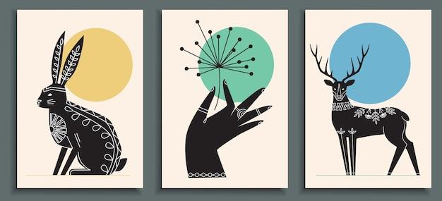 꽃을 들고 손으로 추상 포스터 컬렉션 프리미엄 벡터