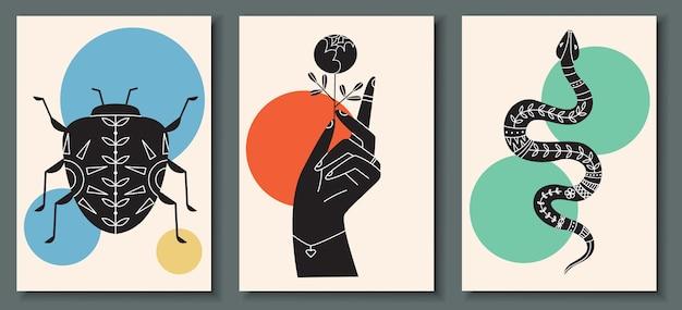 Коллекция абстрактных плакатов с рукой, держащей цветы
