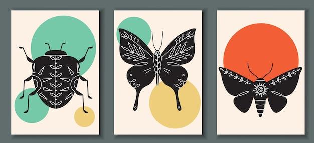 곤충 버그와 추상 포스터 컬렉션 프리미엄 벡터