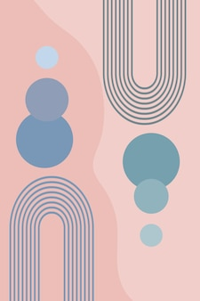 Abstract poster of geometric shapes and lines with rainbow print and sun circle