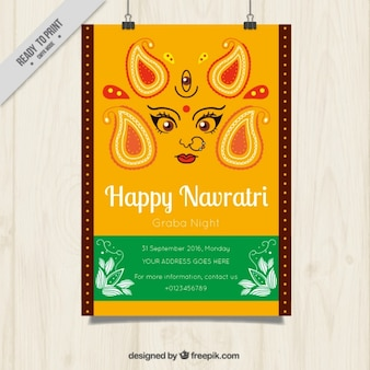 Abstract poster of happy navratri celebration