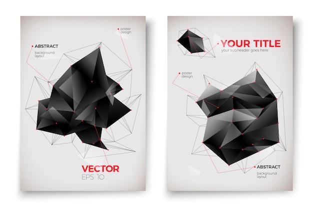 Абстрактные шаблоны плакатов, белый фон с темными геометрическими фигурами