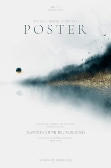 Abstract poster with beautiful watercolor landscape