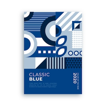 Abstract poster with classic blue shapes