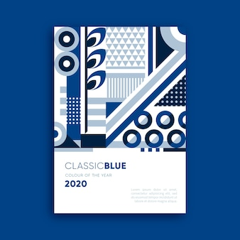 Abstract poster with different blue shapes