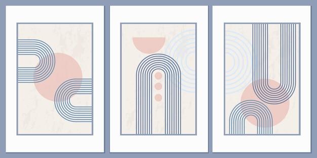 幾何学的な形と線で抽象的なポスター